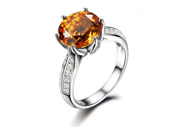 Natural 2.66ct Citrine rings and hold by 0.47ct diamond prong 18K white gold rings