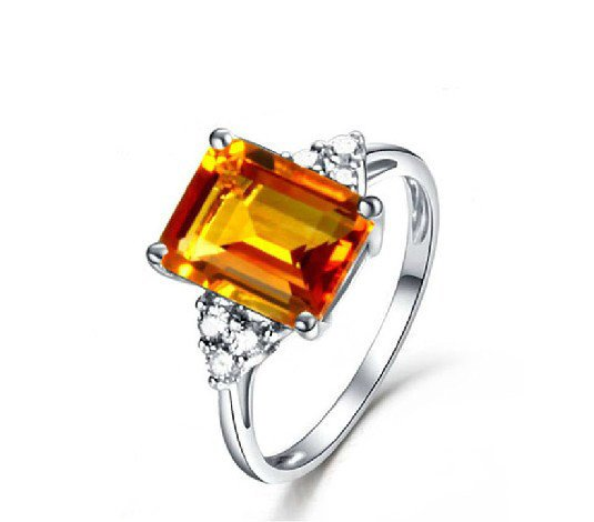 Natural 3.11ct Citrine rings and accented by natural diamond 14K white gold rings