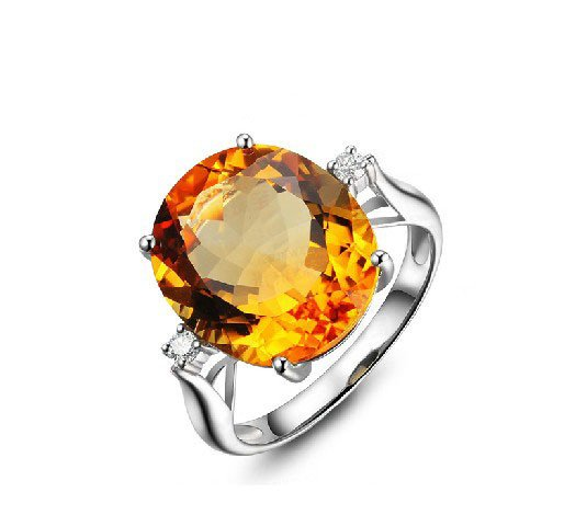 Natural huge 11.29ct Citrine rings and accented by natural diamond 14K white gold rings