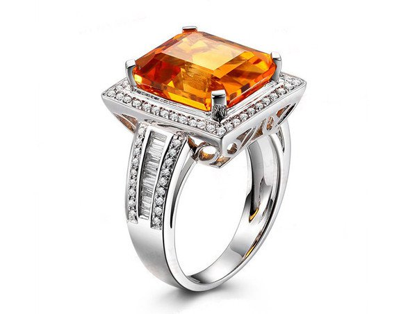Natural huge 6.56ct Citrine rings and surrounding with 0.88ct natural diamond 14K white gold rings