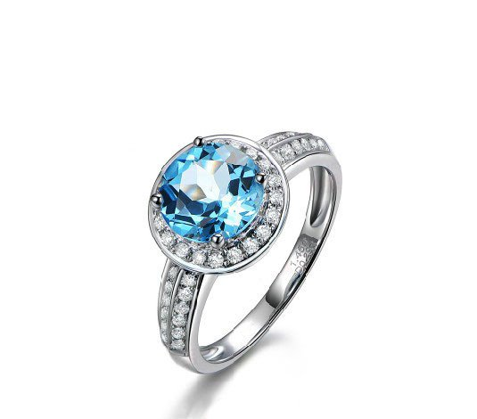 1.45ct huge Topaz round Cut with 0.26ct natural Diamonds Halo 14K Gold ring