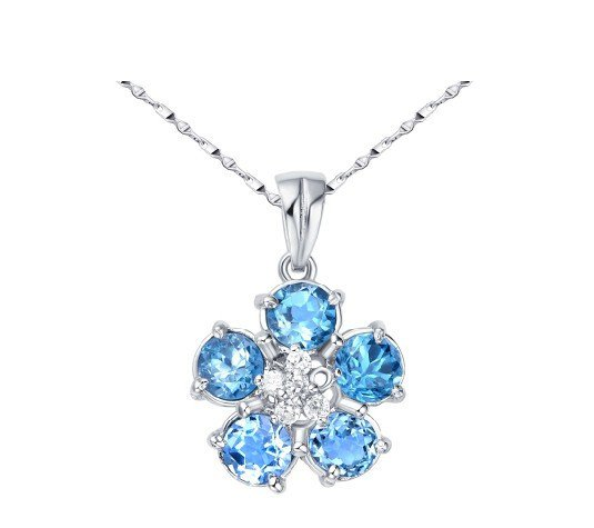 Natural topaz flower shape pendant oval cut 2.5ct set in sterling silver