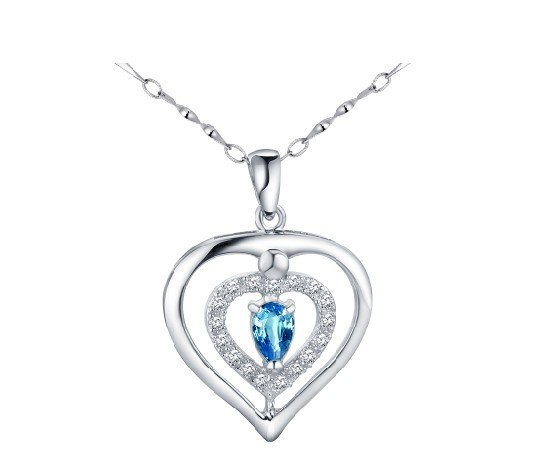 Natural topaz heart shape pendant oval cut 0.95ct set in sterling silver