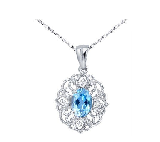 Natural topaz oval cut 0.95ct royal pendant set in sterling silver