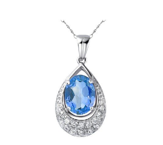 Natural topaz pear shape pendant oval cut 2.95ct set in sterling silver