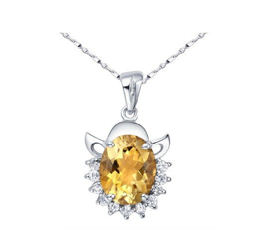 2.6ct Natural citrine oval cut pendant set in sterling silver