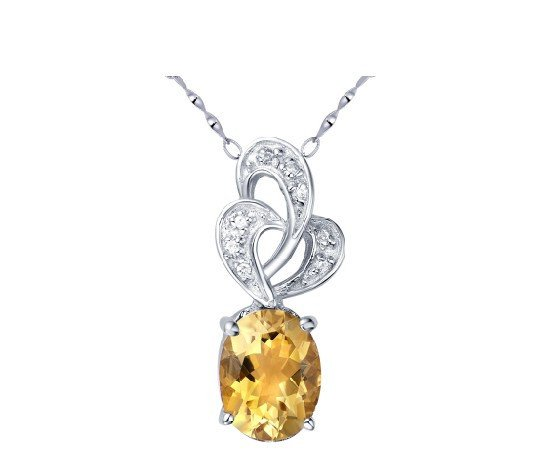 Natural citrine oval cut 1.56ct pendant set in sterling silver