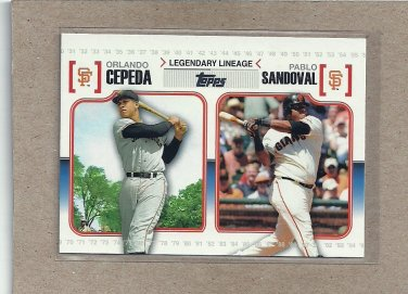 2010 Topps Baseball Legendary Lineage Cepeda and Sandoval #LL 32