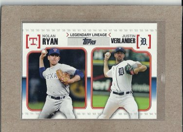 2010 Topps Baseball Legendary Lineage Ryan and Verlander #LL53