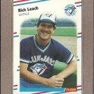1988 Fleer Baseball Rick Leach Blue Jays #115