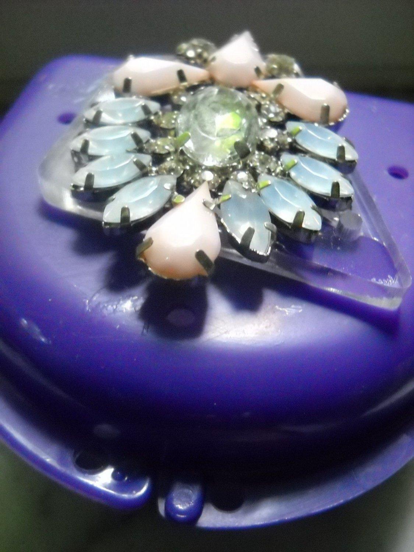 Bling Denture Case Pink Gem Jewelry Pretty Woman Partial Bridge Retainer Purple