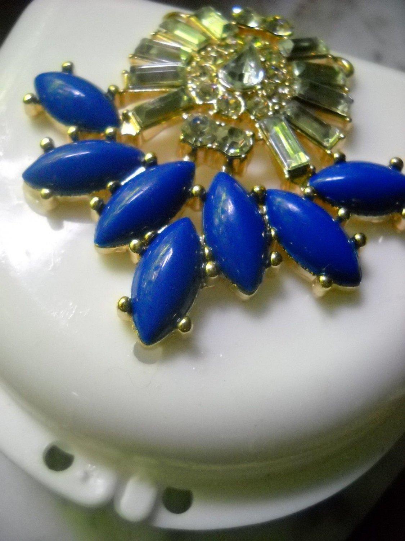 Art deco Denture Case Blue Gem Jewelry Woman Partial Bridge Retainer white