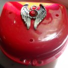 Red Denture retainer case Gothic Wings w/key chain
