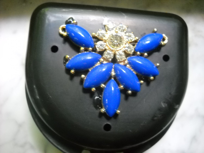 Art deco Black Denture Case Blue Gem Jewelry Woman Partial Bridge Retainer