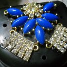 Art deco Black Denture Case Blue Clear Gem Jewelry partial storage