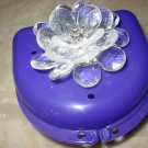 Partial Bridge Denture Brace Case Purple Clear 3d Flower Clear gem Bling Glam