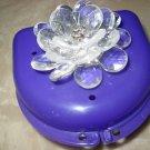 Partial Bridge Denture Brace Case Purple Clear 3d Flower Clear gem Bling Glam