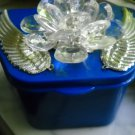 Full Denture Case Blue Silver Wings Clear Flower gem Bling Glam