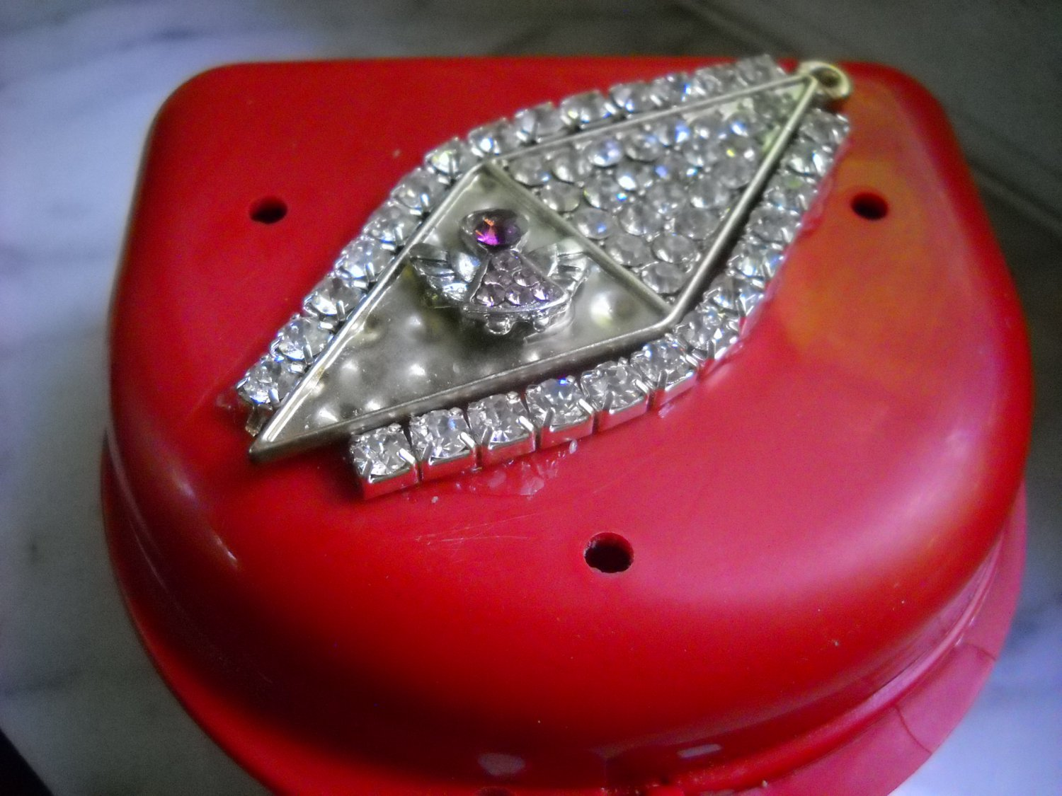 Partial Bridge Denture Brace Case Red Pink Angel & Clear gem Bling Glam