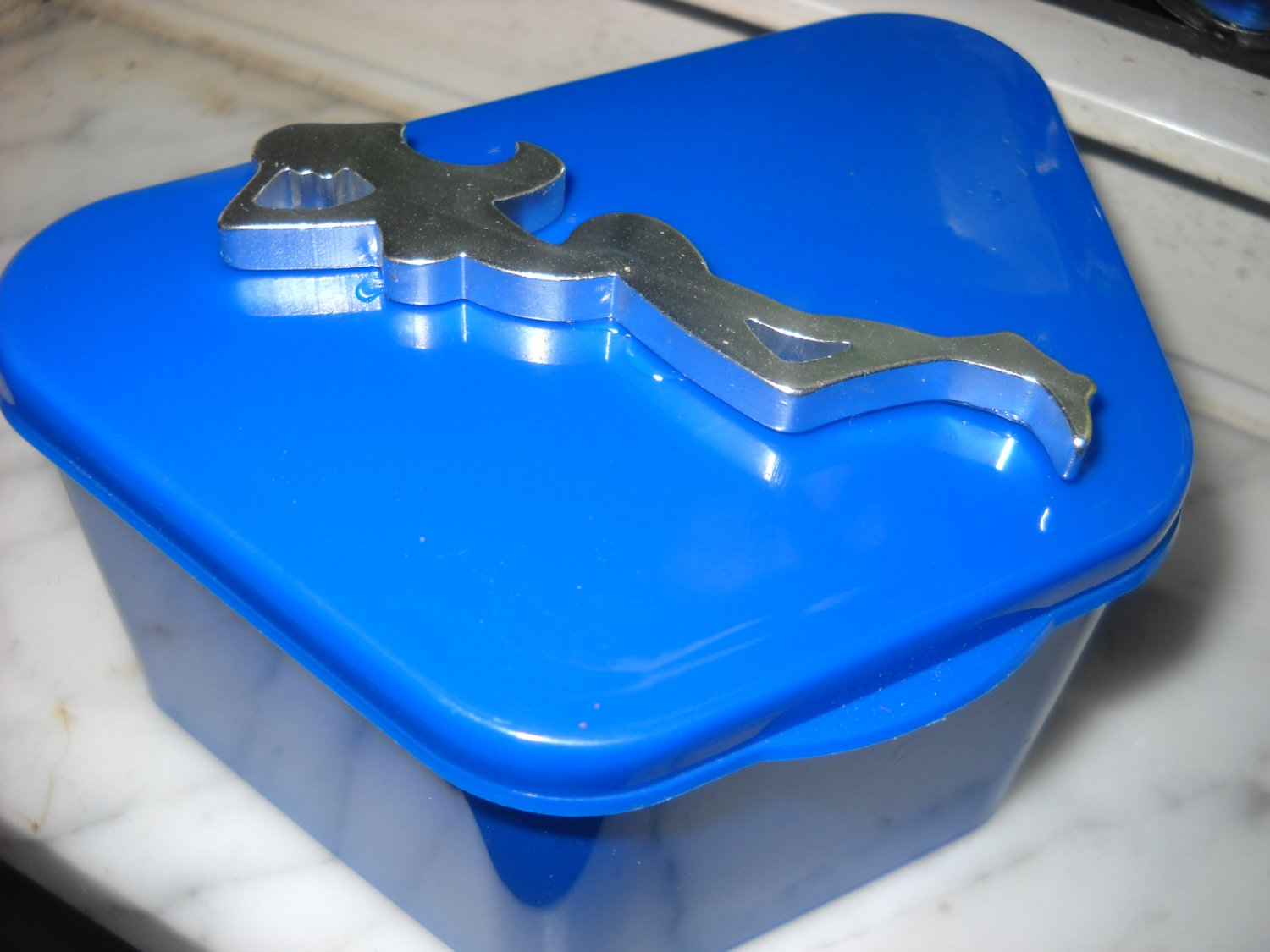 Full Denture Case trucker mens dental storage case Blue w / silver woman silhouette