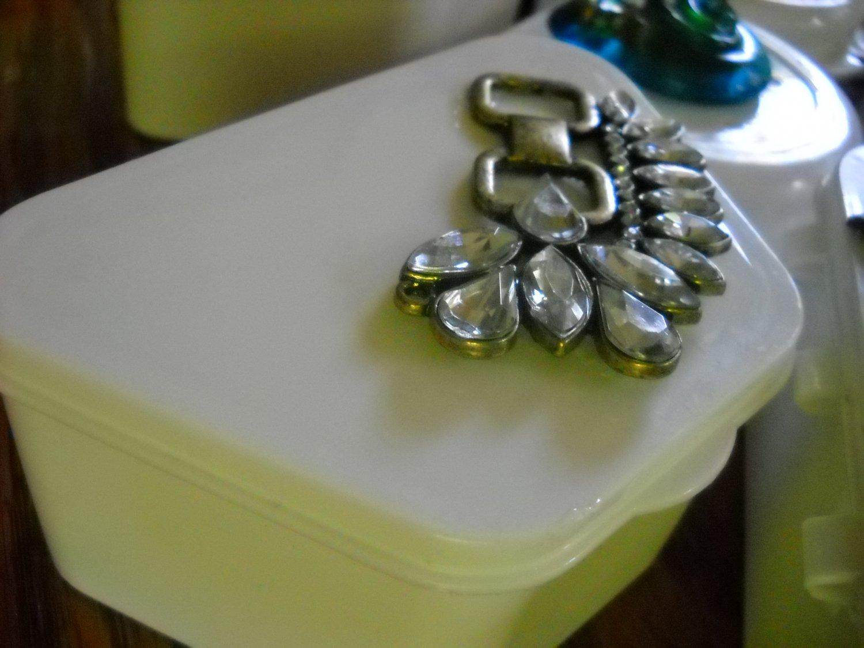 Full Denture Case White Clear gem Bling Glam brass trim