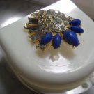 Art deco Denture Case Gem Jewelry Woman Partial Bridge Retainer white blue stone
