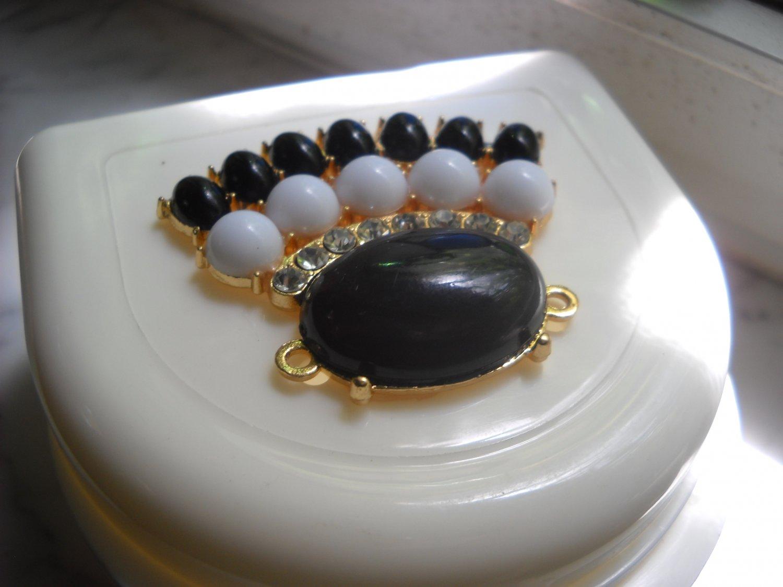 Partial Bridge Denture Case White with Black gem elegant rhinestone bling