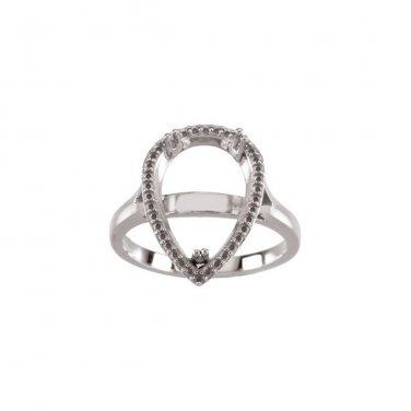 Pear Semi Mount 14 kt. White Gold Ring