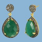 Pear shaped Emerald and Diamond Vermeil Earrings