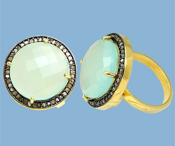 Huge and Dynamic Sea Green Chalcedony and diamond Ring