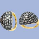 Dome shaped champagne diamond and vermeil ring