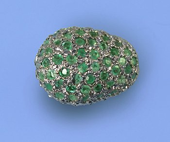 Emerald Nugget bead sterling silver pave