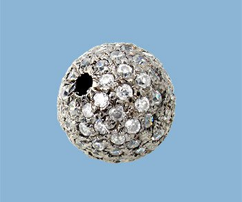 10 mm White Sapphire Round Pave Bead