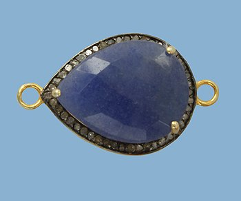 Pear shaped Blue Sapphire with Diamonds in Vermeil