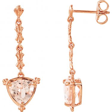 Morganite Trillion-Cut Earrings 14 kt. Rose Gold