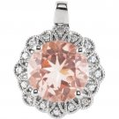 Round Pink Morganite with Diamonds  14 kt. White Gold Pendant