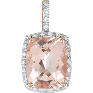 Cushion cut Morganite and Diamond 14 kt. Rose Gold Pendant