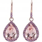 14x10mm Morganite and Amethyst Earrings in 14 kt. Rose Gold