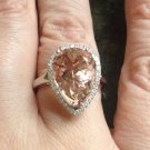 SOLD on Etsy 5+ carat Pear Morganite and Diamond 14 kt. white gold ring