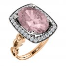 Oval Morganite in Vintage two-tone rose gold/white gold setting