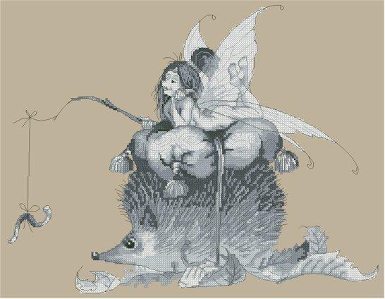 Monge Jean-Baptiste Cross Stitch Chart Fairy on the Hedgehog