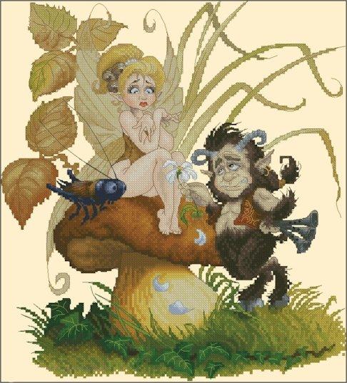 Pascal Moguerou Art Cross Stitch Chart Fairy and Satyr