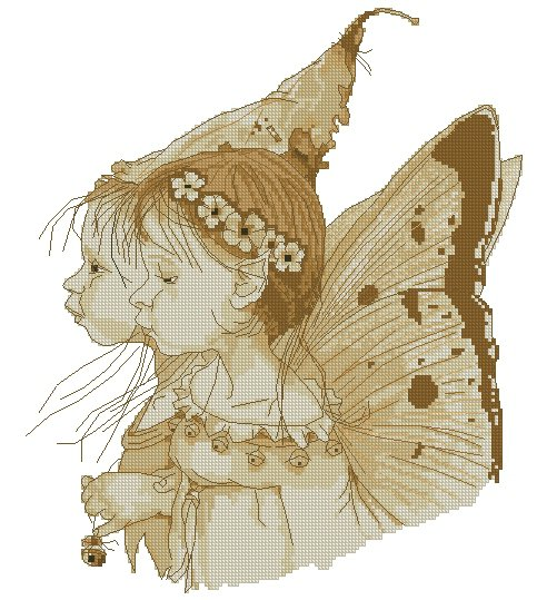 Monge Jean-Baptiste Fantasy Art Cross Stitch Chart Two Fairies
