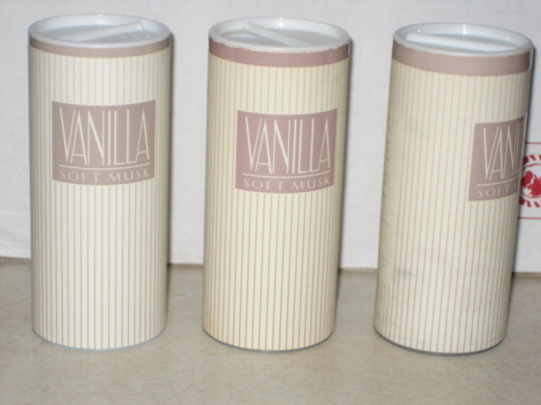3 New AVON VANILLA SOFT MUSK Fragrance Body TALC Powder 1997