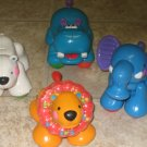 4 USED Fisher Price AMAZING ANIMALS Elephant Hippo Lion