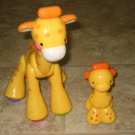 2 USED Fisher Price AMAZING ANIMALS Baby GIRAFFE Yellow