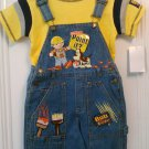 New BOB THE BUILDER Shirt Tops Shortalls Shortall Ribbed Jeans Scruffty Sz 4
