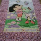 USED Pre-owned TWIN Single COMFORTER DORA THE EXPLORER Flowers Floral Pink