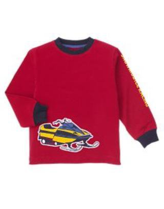 New GYMBOREE SHIRT Sz 7 Red Snow Days Snowmobile Car Boy Long Sleeves