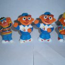 4 USED SESAME STREET ERNIE Figures Figurines Toy Construction Worker Lot